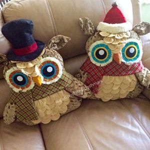 Christmas Decorative Owl Figurine 1 pair large